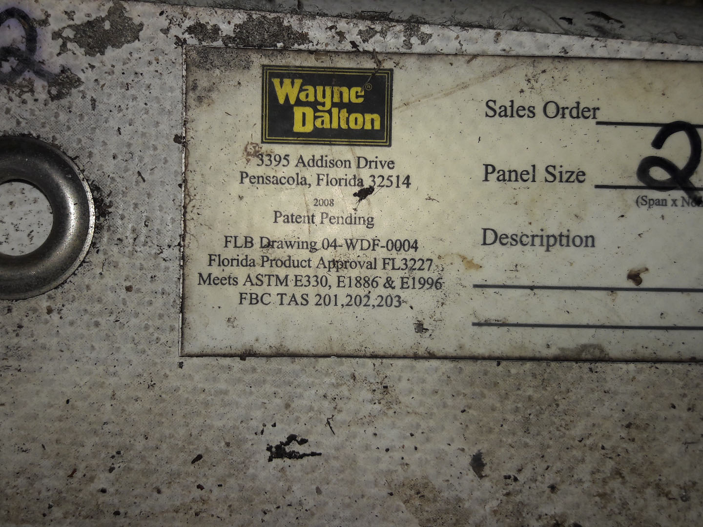 Hurricane Rated Panel Label